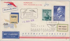 Österreich - AUA 40 Jahre Flugpost Sonderluftpost Wien - Frankfurt /postlagernd