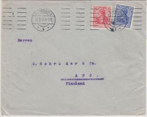 DR - 10+20 Pfg. Germania, Brief n. FINNLAND, Hamburg - Abo 1911