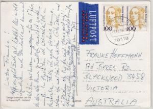 BRD - 2x100 Pfg. Frauen Lupo-Karte n. AUSTRALIEN, Berlin - Blackwood 1995