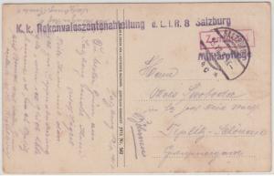 Österreich - KK Rekonvaleszentenabteilung Salzburg Feldpostkarte n. Teplitz 1917