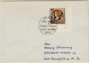 Berlin - 80 Pfg. Kunstgewerbemuseun, Bogenecke/Formnummer, FDC + ESST 1984