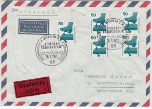 BRD - 5x50 Pfg. Unfallverhütung, Eilbrief/FDC+ESST Bonn - Landsberg 1973