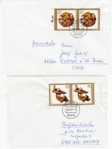 Berlin - Weihnachten 1989,  je Mehrfachfrankatur, 2 Drucksachen 1991