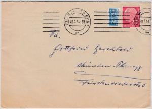 BRD - 20 Pfg. Heuss I, Brief München 20.3.54 n. Planegg