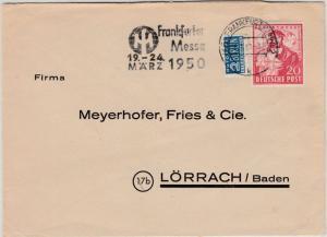 Bizone - 20 Pfg. Hannover Exportmesse, Brief Frankfurt - Lörrach 1950