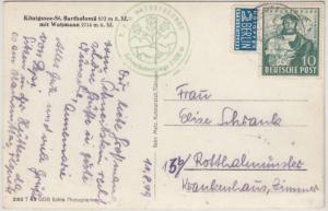 Bizone - 10 Pfg. Hannover Exportmesse, Karte Berchtesgaden - Rotthalmünster 1949