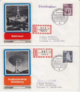 Berlin - 200 + 500 Pfg. Industrie & Technik je a. Schmuck-FDC + ESST 1975