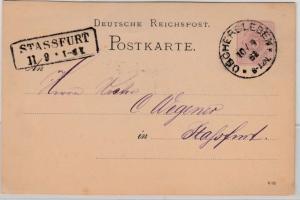 DR - Oschersleben 1882, Klaucke-Stempel a. 5 Pfg. GA-Karte n. Stassfurt