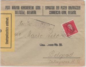 Österreich/KuK-Feldpost - 15 H. Franz-Joseph, Ortsbrief Belgrad 1917, Zensur !