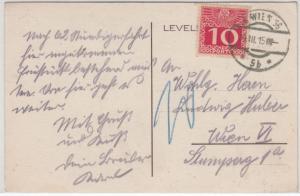 Österreich - 10 H. Portomarke, Karte v. Ungvar (Uschhorod) n. Wien 1915