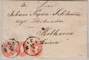 Österreich/Bayern - 3x5 Kr. Ausg. 1860, Brief Wien - Kelheim 1863