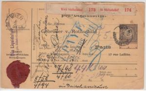 Österreich - Wien Südbahnhof 1891, Paketkarte/2 Pakete n. FRANKREICH, Leitweg ü.