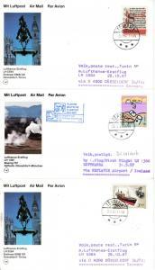 Färöer - 13 Luftpostkarten 1987/88, versch. Frankaturen