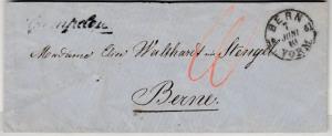 Schweiz - Gampelen, Schreib-L1 a. Portobrief n. Bern 1861, ohne Inhalt