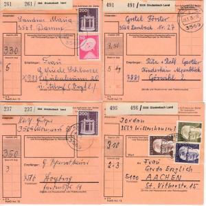 BRD - Gladenbach Land, 4 Paketkarten v. versch. Poststellen I 1975