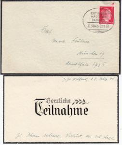 DR - Eutingen - Hausach Bahnpost Z.3846, Trauerbrief v. Wolfach - München 1943