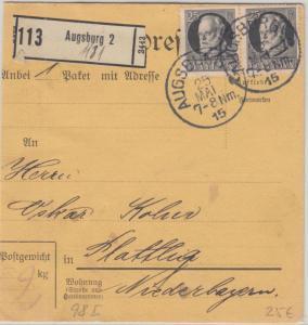Bayern - 25 Pfg. Ludwig Friedensdruck Paar Paketkarte Augsburg - Plattling 1915