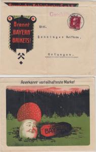Bayern - 10 Pfg. Ludwig illustr. Firmenbrief Geschäftspapiere Nürnberg 1917 n.