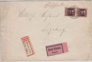 Bayern - 2x50 Pfg Ludwig/Freistaat Einschreiben Eilbrief München - Augsburg 1920