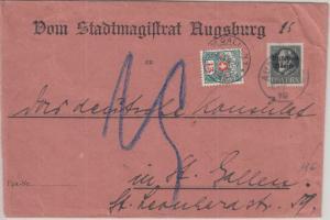 Bayern - 25 Pfg. Ludwig/Volksstaat Brief i.d. SCHWEIZ Augsburg 1919 Nachporto !