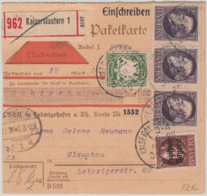 Bayern - 3x2 M Ludwig u.a. Nachnahme Einschreiben Paketkarte Kaiserslautern 1920