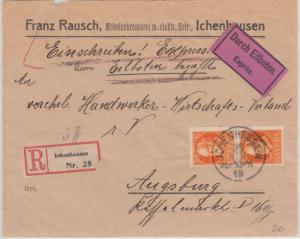 Bayern - 2x30 Pfg. Ludwig Eilboten Einschreibebrief Ichenhausen - Augsburg 1919