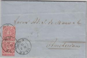 NDP - 1 Gr. gez. senkr. Paar Brief n. HOLLAND Olpe - Amsterdam 1871 - mit Inhalt