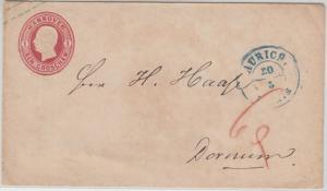 Hannover - 1 Gr. Ganzsache brief Aurich - Dornum 6 Pfg. Bestellgeldvermerk
