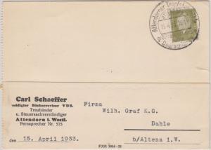 DR - Attendorn 1933 Attendorner Tropfsteinhöhle Handwerbestempel Karte n. Dahle