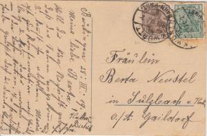DR - 3+5 Pfg. Germania Karte K. Württ. Bahnpost Bröckingen - Sulzbach 1919