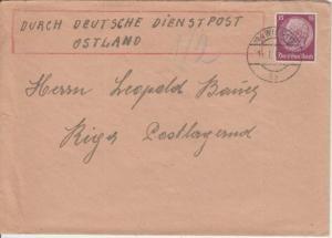DR - 15 Pfg. Hindenburg Brief Dt. Dienstpost Ostland Wien Riga postlagernd 1942