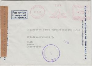 Finnland - 28 M. Absenderfreistempel Travel Bureau Luftpostbrief Helsinki 1952
