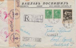 Bulgarien - 14 L. Bulg. Geschichte u.a. Luftpost Einschreibebrief Sofia 1943 n.