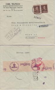 Rumänien - 2x20 L. Michael I. Einschreibebrief Sibiu - Wien 1943 OKW-Zensur
