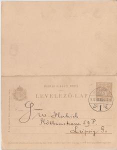 Ungarn/Rumänien - 5/5 f. Ganzsache Doppelkarte Brasso - Leipzig 1912
