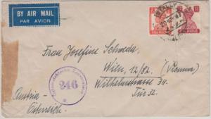 Indien - Calcutta 1947 Luftpostbrief n. ÖSTERREICH - österr. Zensur