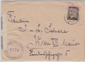 Österreich - Velden 1.3.46 Zensurbrief n. Wien Britischer Zensurverschluss