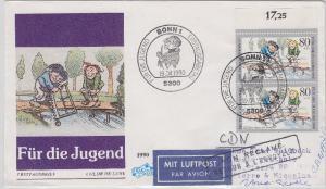 BRD - 2x80 Pfg. Jugend Luftpostbrief/FDC n. St. Pierre & Miquellon (!!) 1990