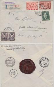 Griechenland - 10 Dr. Freimarke u.a. Einschreibebrief Athen - Berlin 1938 Siegel