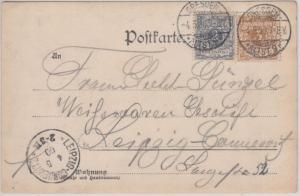 DR - 2+3 Pfg. Krone/Adler Karte Dresden - Leipzig 1900