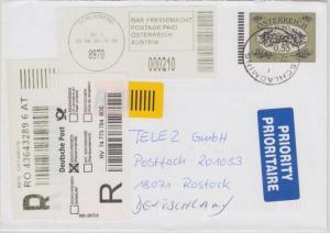 Österreich - 0,55€ Ganzsachenumschlag 2,10€ Barfreimachung Einschreibebrief 2008