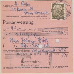 BRD - 50 Pfg. Heuss II Postanweisung Kesternich ü. Monschau - Köln 1961