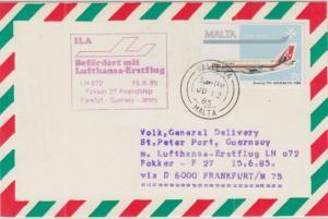 Malta - Lufthansa Erstflug Frankfurt - Guernsey Zuleitungspost 1985