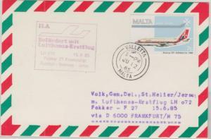 Malta - Lufthansa Erstflug Frankfurt - Jersey Zuleitungspost 1985