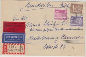 Berlin - 70+60+5 Pfg. Stadtbilder II Luftpost Einschreiben Eilbrief NW21 1959 n.