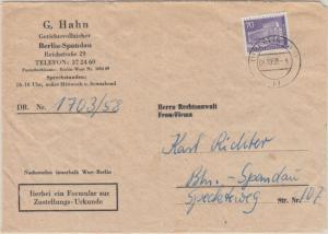 Berlin - 70 Pfg. Stadtbilder II Zustellurkunde Ortsbrief SW11 1958