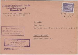 Berlin - 70 Pfg. Stadtbilder II Zustellurkunde Ortsbrief  1958