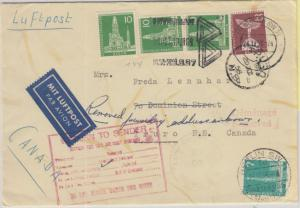 Berlin - 25 Pfg. u.a. Stadtbilder II Luftpostbrief n. CANADA SW11 - Truro 1956