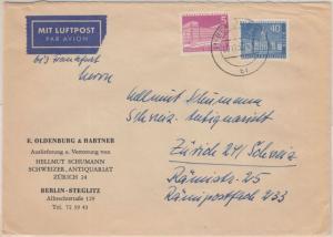 Berlin - 40+5 Pfg. Stadtbilder II Luftpostbrief i.d. SCHWEIZ Teilgebühr !! 1957