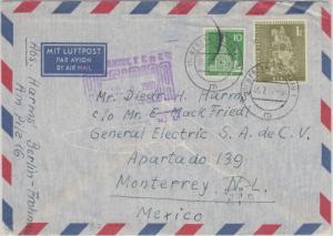 Berlin - 1 M. + 10 Pfg. Stadtbilder II Luftpostbrief n. MEXIKO Frohnau 1957